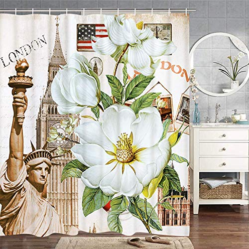 hower Curtain, Statue of Liberty Big Ben The Stars and Stripes Shower Curtain Bathroom Curtain Durable Waterproof with Hooks 71