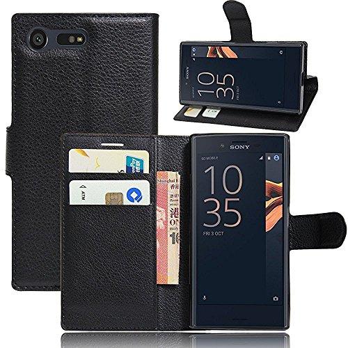 ELTD Sony Xperia X Compact Hülle, Flip Cover Case / Hülle / Tasche/ Schutzhülle Für Sony Xperia X Compact 4.6 Zoll, Schwarz