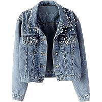 MINIKIMI Donna Manica Lunga Giacca in Jeans Classico Casual Denim Jacket Vintage Strass Slim Giacche Corti Giubbotto…