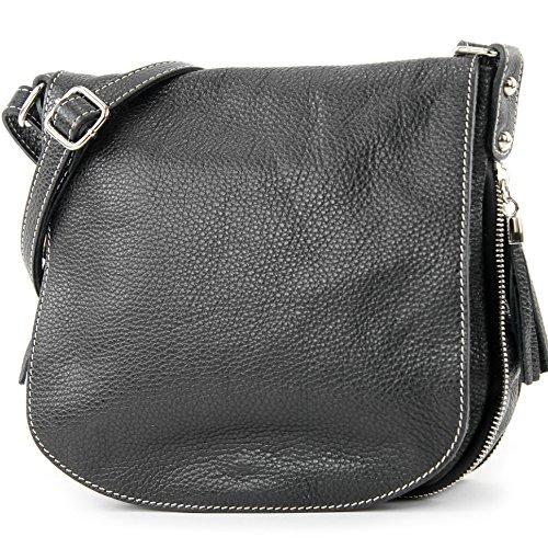 modamoda de - ital. Ledertasche Damentasche Umhängetasche Messenger Crossover Leder T06, Präzise Farbe:Schwarz (Messenger Leder Cross Body)