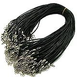 50 Stk. 2mm Lederschnur Mit Karabiner Verschluss für Anhänger Lederkette Halskette Lederband Kette Echtleder DIY Schmuck 43cm(17inches)