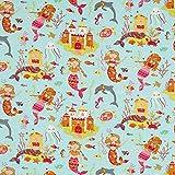 Fabulous Fabrics Baumwolljersey Meerjungfrau – aquablau — Meterware ab 0,5m — Oeko-Tex Standard 100 — zum Nähen von Kinderbekleidung und Babybekleidung