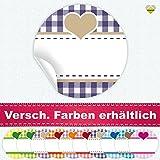 24 Aufkleber / Etiketten / Sticker | Landhausstil Kariert Herz | Rund | Ø 40 mm | Dunkellila/Beige | F00038-07 | Ohne Beschriftung! | CuteLove & Head-Beat