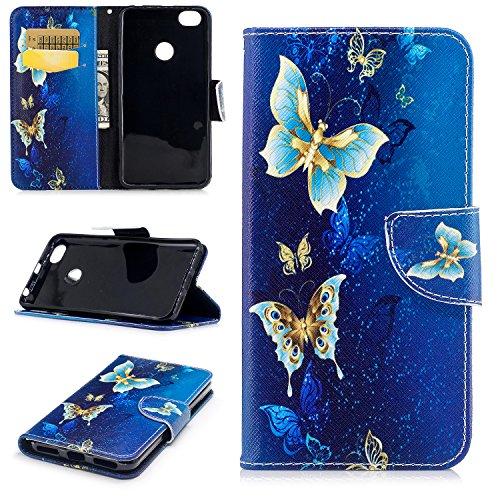 sinogoods para Xiaomi Redmi Note 5A Funda, Cuero De La PU Magnético Capirotazo Billetera Apoyo Bumper Protector Cover Funda Carcasa Case - Mariposa Dorada