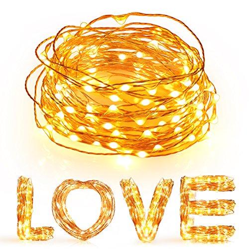 Stringa Luci Led a USB ,Sunnest 10 metri Stringa fata luce 100 LED USB IP65 impermeabile filo di rame per l'albero di Natale, di festa, compleanno, partito, decorazione di nozze