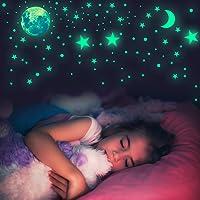 Habett Adesivi Fluorescenti 445 pcs, 6 Pezzi Stelle Luna Dots Adesivi da Parete Fluorescenti Autoadesiv Soffitto per…