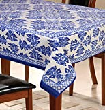 #9: Dining Table Cover for 6 Seater Table Cloth, 100% Cotton, 145 cm X 220 cm,Blue
