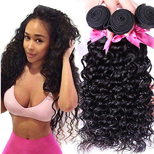 SHKY Peruvian Deep Curly Wave Virgin Hair 3 Bündel Dick und unverarbeitete Human Remy Haarverlängerungen Natural Black Color , #10.22-18.24