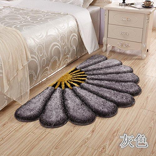 Preisvergleich Produktbild Lx.AZ.Kx Fußmatte Fan-Shaped Blume Waldmeister Matten die Schlafzimmer Pc Sitzkissen Bett Teppiche Einhaltung die Decke 80 cm * 150 Cm, Grau