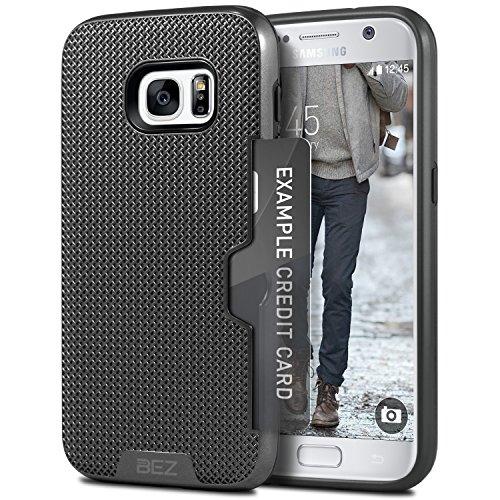Coque Samsung Galaxy S7, BEZ™ [Poche pour Carte] Tough Armor Housse Etui Double Protection contre les Chocs Résistante avec Porte-Cartes pour Samsung Galaxy S7 - Noir