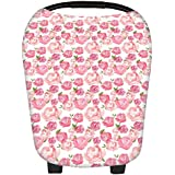 Martofbaby Rose Flower Car Seat Nursing Covers For Babies Mommy Scarf Trend Canopy Shopping Cart Breastfeeding Cover Breathable& Soft