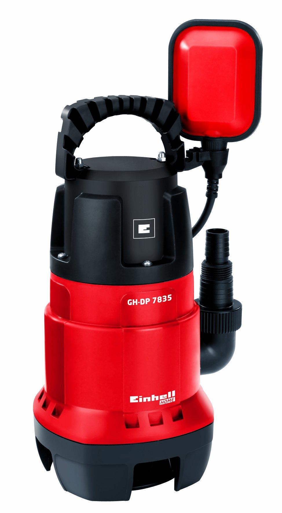 Einhell GH-DP 7835 – Bomba sumergible aguas sucias (780 vatios, máx. 15,700 l / h, cabeza máxima de 8 m, cuerpos extraños hasta 35 mm, interruptor de flotador continuo) (ref. 4170682) [Clase de eficiencia energética A]