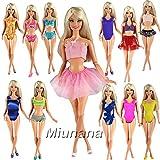 Miunana 5 Sets Sommer Badeanzug Strand Bikini Baden Badebekleidung Beach mit 5 Paar Schuhe für Barbie Puppe Doll