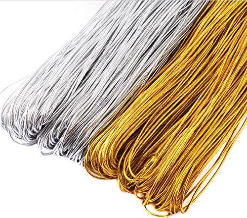 EDGEAM Elastischen Cored Seil Elastikkordel Ø 1mm für Hang Etikett, DIY Basteln Nähen (1MM, Gold)