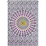Mandala india colgante de pared de la tapicería del algodón impresiones Traducido White Beach Decor banda 42 x 30 pulgadas