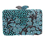 Bonjanvye Flower Kisslock Purses with Crystal Rhinestones Evening Clutch Bag Blue