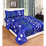 Magnetic Shadow Polycotton Double Bedsheet With 2 Pillow Covers (90x100 Inches, Blue) - Set Of 3 Pieces