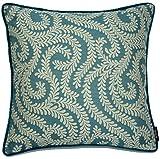 McAlister Textiles Luxury Kollektion | Little Leaf Kissenbezug | 40cm x 40cm in Blaugrün | Deko Kissenhülle für Bett, Sofa, Couch, Sessel | Blätter Ranken Motiv gewoben