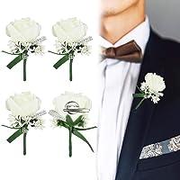 AFASOES - 4 spille per invitati, per matrimonio, con fiocco e clip, per sposa, damigella d'onore, per uomini, donne…