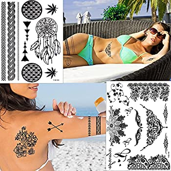 Outee 15 Sheets Black Temporary Tattoos Fake Jewelry Tattoos Henna Temporary Tattoos Temporary Flash Tattoos For Adults & Kids 6