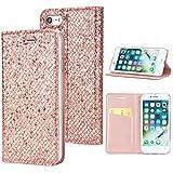 iPhone 7 iPhone 8 Case Hülle Glitzer, KANTAS Brieftasche Flip Case Geldbörse Gemalt PU Leder Handyhülle mit Durchsichtig