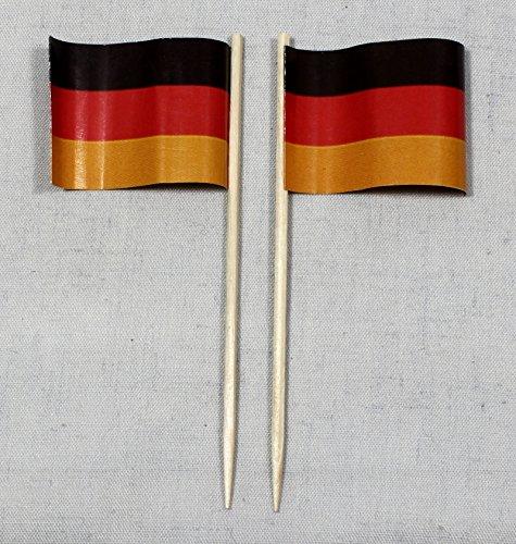 (Party-Picker Flagge Deutschland Papierfähnchen in Profiqualität 50 Stück 8 cm Offsetdruck Riesenauswahl aus eigener Herstellung)