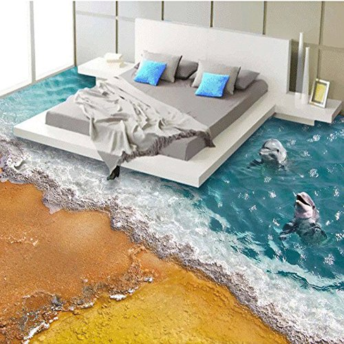 Ohcde Dheark Benutzerdefinierte Stereoskopischen 3D-Stock Wallpaper Strand Wave Dolphin Modern Betten Zimmer Badezimmer Vinyl Wandbild Tapeten Home Decor 430cmX300cm(169.3 by 118.1 in )