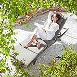OUTLIV. Gartenliege Rattan Sizilien Sonnenliege Polyrattan-Geflecht Grau-Beige/Taupe Rattanliege