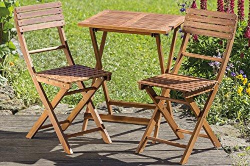 Homeshop Groupe De Balcon Jardin Table Et 2 Chaises En Bois Dacacia