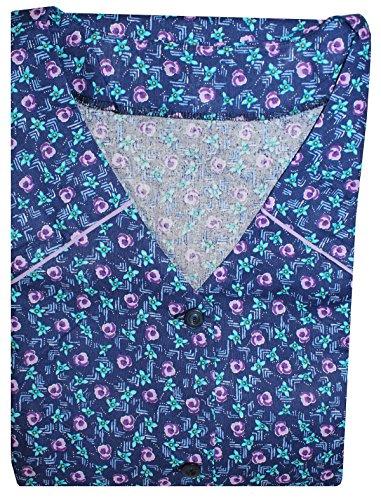 Tobeni Damen Kittelschürze Knopf-Kittel lang in 100% Baumwolle ohne Arm mit Taschen Farbe Design 3 Grösse 44