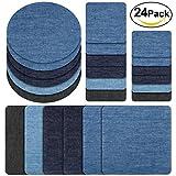 Patches zum aufbügeln, Rymall 24 Stück 6 Farben Denim Baumwolle Patches Bügeleisen Reparatursatz, Aufbügelflicken Bügelflicken, 4 Größen -