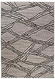 Carpeto Sisal Teppich Grau 60 x 110 cm Geometrische Muster Flachgewebe Sisal Kollektion