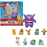 Pokémon Ultimate Battle Multi Pack de 10 Figuras de Acción - Gengar, Pikachu, Charmander, Squirtle, Bulbasaur, Eevee, Sobble,