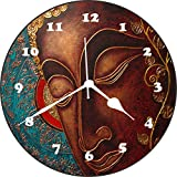 [Sponsored Products]Wall Clock 3D Buddha 3 Wall Clock Watch Vintage Analogue Movement Wall Clock With Glass For Home / Kitchen / Living Room / Bedroom / Office Designer Wall Clock /Retro Vintage Hand Made 3D Wall Clock / Antique Clock Decorative