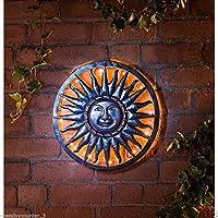 Warm White Led Solar powered Sun Metal Wall Art garden decoration - 40cm by mjaonline