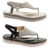 Women's Diamante Sparkly Flat Thong Sandals Ladies Comfy Occasion Summer Party Shoes