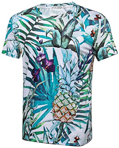Pretty321-Men-Women-3D-Flowers-Floral-Leaves-Print-Casual-T-Shirt-Collection-EShombre-46-mujer-38-40-Ignore-Asia-Tag-Pineapple