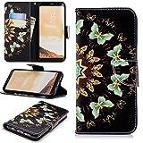 Artfeel Samsung Galaxy S8 Plus Leder Flip Brieftasche Hülle,Niedlich Runder Schmetterling Muster Malerei Magnetverschluss Standfunktion Handyhülle mit Kartenfach und Geldbörse,Weiche Silikon Innenschale Bumper Stoßfest Schutzhülle für Samsung Galaxy S8 Plus