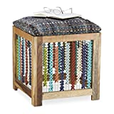 Relaxdays Hocker Holz, handgefertigter Fußhocker, Gemusterter Sitzwürfel für Kinder, HxBxT: 47 x 41 x 42 cm, Natur/Bunt