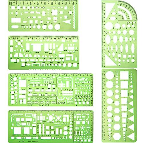 6 Stücke Kunststoff Mess Lineal Gebäude Schalung Schablonen Geometrische Zeichnung Herrscher für Büro und Schule, Klar Grün