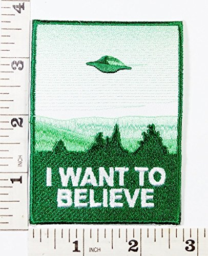 Aufnäher Aufbügler Ausländer I Want To Believe Patch The Green UFO cartoon Patch Symbol Jacket T-shirt Patch Sew Iron on Embroidered Sign Badge Costume …