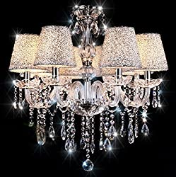 Chandeliers Ceiling Lights TOPAMAX Crystal Chandelier with 6 Silver Lampshades Ceiling Lamp