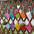 10 Stück/10 Farben Hängetöpfe Set Blumentöpfe (mit Haken) Pflanztopf Verschiedene Farben Für Balkon Metall Hängend auf Fenster Garten Für Die Anzucht von Kräutern Behalten von HSTV auf Du und dein Garten