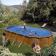 Gre KIT730W- Piscina Pacific desmontable ovalada de acero decoración madera 730x375x120 cm