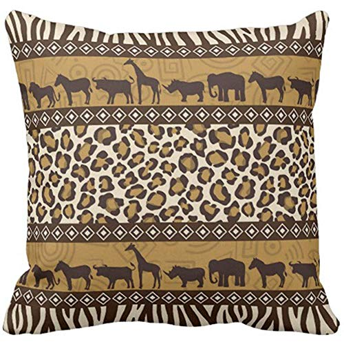 tgyew Throw Pillow Cover Africa African Animals and Leopard Mammal Decorative Pillow Case Home Decor Square 18 x 18 Inch Pillowcase -