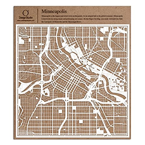 Minneapolis Paper Cut Map White 12x12 inches Paper