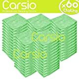 Carsio (x60 Pack, Green) all-Purpose Washable Microfiber Cleaning Cloths Made For: Cars, General Cleaning, Polishing, Waxing, Dusting, Domestic Appliances, Industrial use and more