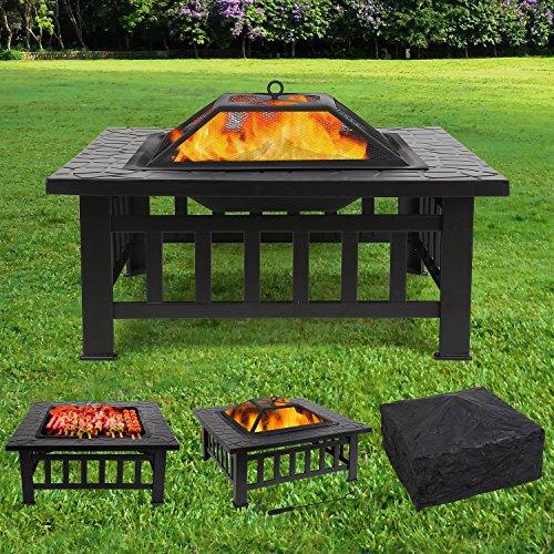 FEMOR Feuerstelle mit Grillrost 81x81x45cm, Multifunktional Fire Pit für Heizung/BBQ, Garten Terrasse Feuerschale,Quadratisch Metall Feuerkorb mit...