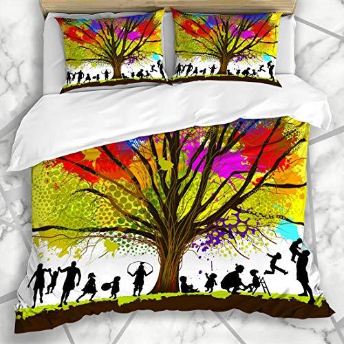 ets Hell Glücklich Kindheit Baum Abstrakt Vorschule Familie Spaß Kind Jugend Aktiv Design Spielen Mikrofaser Bettwäsche mit 2 Kissenbezügen ()
