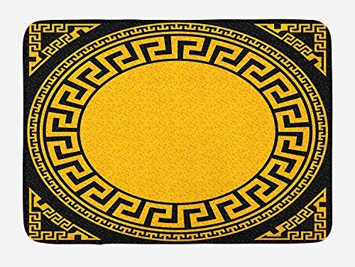 Hiaopp Griechischer Schlüssel Badteppich Sonne inspiriert Big Kreis mit Antik Bund und die dreieckige Ornaments Plüsch Badezimmer Decor Matte mit Rutschfeste Unterseite 59,9x 39,9cm